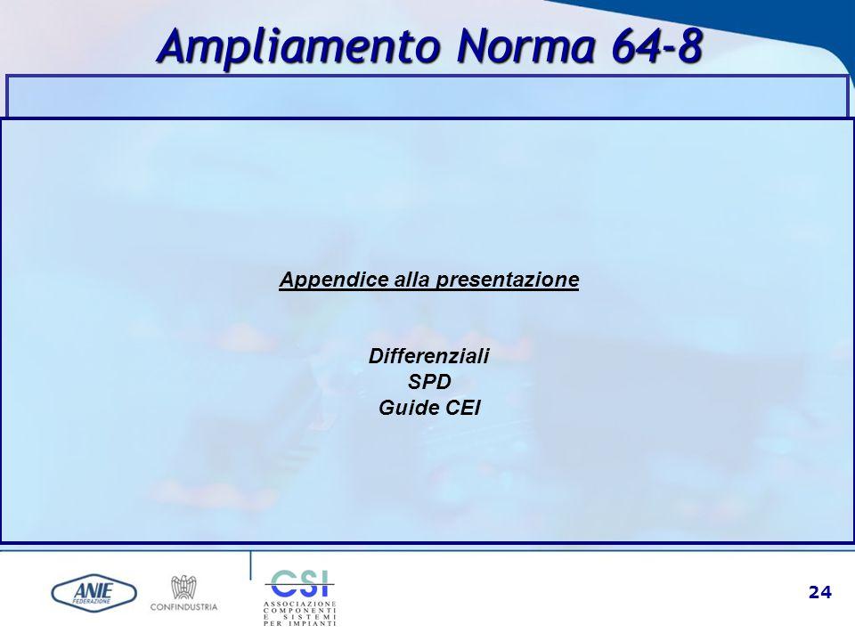24 Ampliamento Norma 64-8 Appendice alla presentazione Differenziali SPD Guide CEI