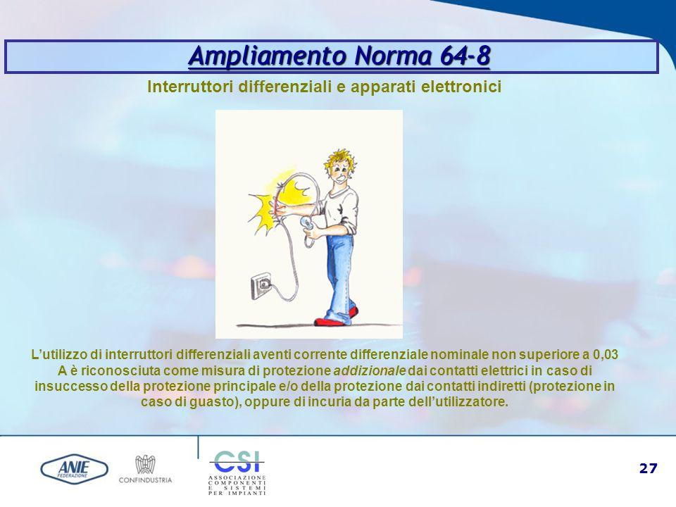 27 Ampliamento Norma 64-8 Interruttori differenziali e apparati elettronici L'utilizzo di interruttori differenziali aventi corrente differenziale nom