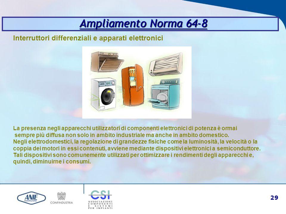 29 Ampliamento Norma 64-8 Interruttori differenziali e apparati elettronici La presenza negli apparecchi utilizzatori di componenti elettronici di pot