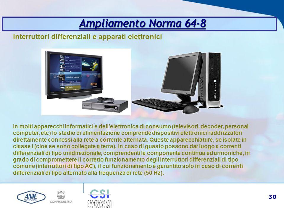 30 Ampliamento Norma 64-8 Interruttori differenziali e apparati elettronici In molti apparecchi informatici e dell'elettronica di consumo (televisori,