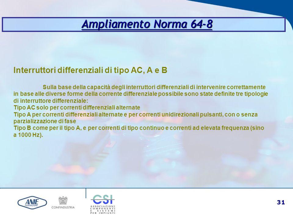 31 Ampliamento Norma 64-8 Interruttori differenziali di tipo AC, A e B Sulla base della capacità degli interruttori differenziali di intervenire corre