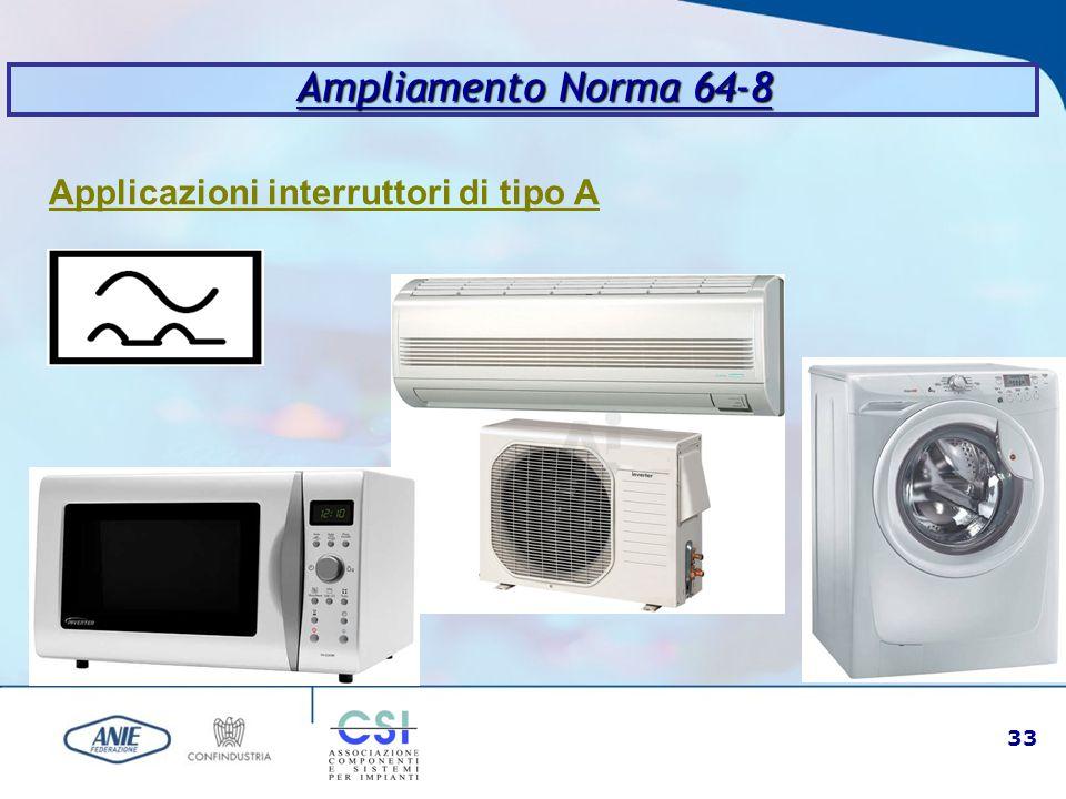 33 Ampliamento Norma 64-8 Applicazioni interruttori di tipo A