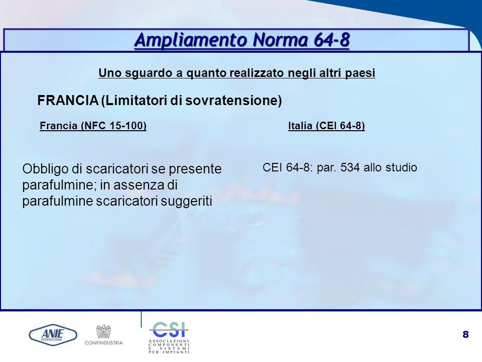 8 Uno sguardo a quanto realizzato negli altri paesi Ampliamento Norma 64-8 FRANCIA (Limitatori di sovratensione) Francia (NFC 15-100) Italia (CEI 64-8