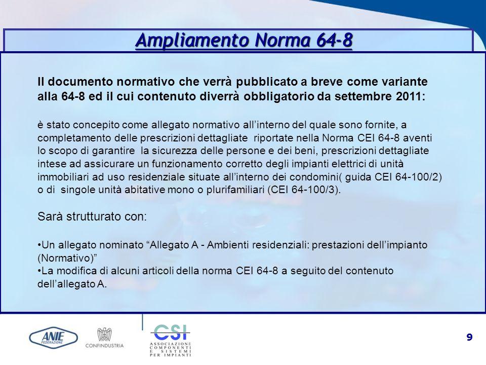9 Il documento normativo che verrà pubblicato a breve come variante alla 64-8 ed il cui contenuto diverrà obbligatorio da settembre 2011: è stato conc