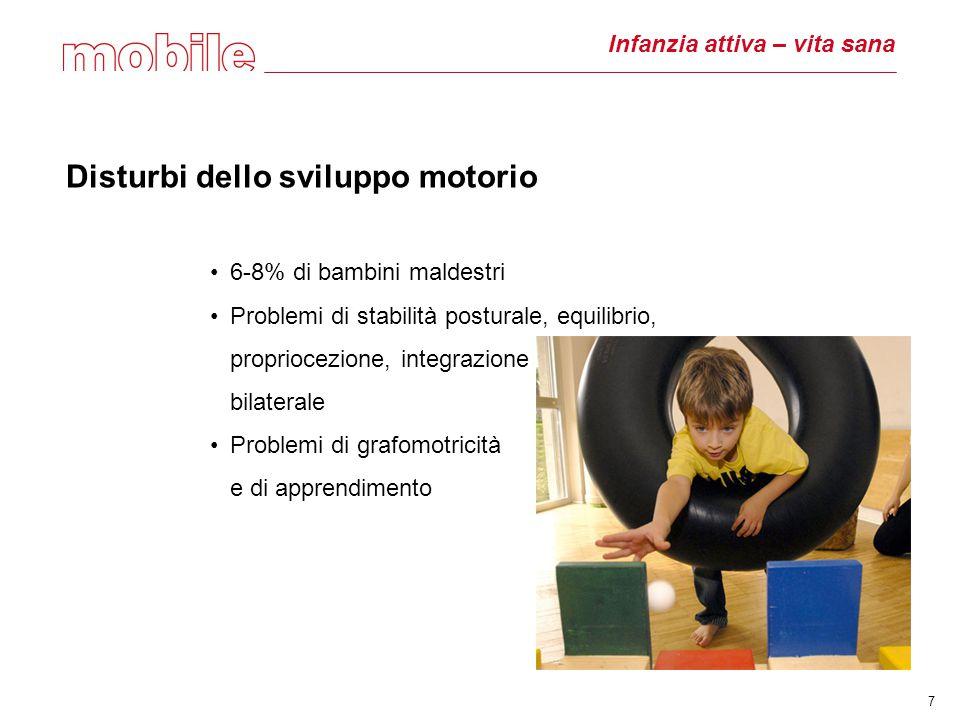 Infanzia attiva – vita sana Disturbi dello sviluppo motorio 6-8% di bambini maldestri Problemi di stabilità posturale, equilibrio, propriocezione, integrazione bilaterale Problemi di grafomotricità e di apprendimento 7