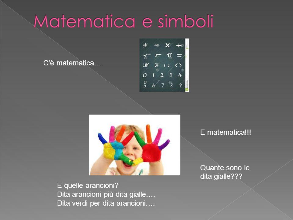 C'è matematica… E matematica!!! Quante sono le dita gialle??? E quelle arancioni? Dita arancioni più dita gialle…. Dita verdi per dita arancioni….