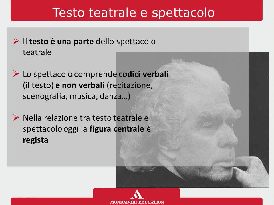 Testo teatrale e spettacolo  Il testo è una parte dello spettacolo teatrale  Lo spettacolo comprende codici verbali (il testo) e non verbali (recita