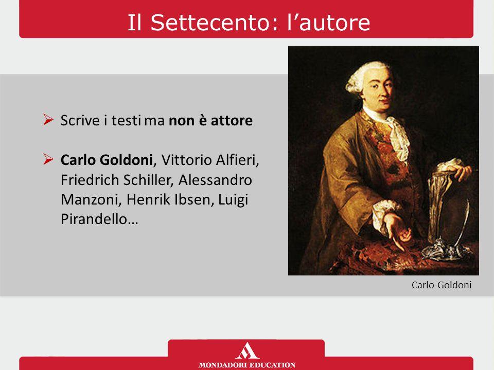 Il Settecento: l'autore  Scrive i testi ma non è attore  Carlo Goldoni, Vittorio Alfieri, Friedrich Schiller, Alessandro Manzoni, Henrik Ibsen, Luig