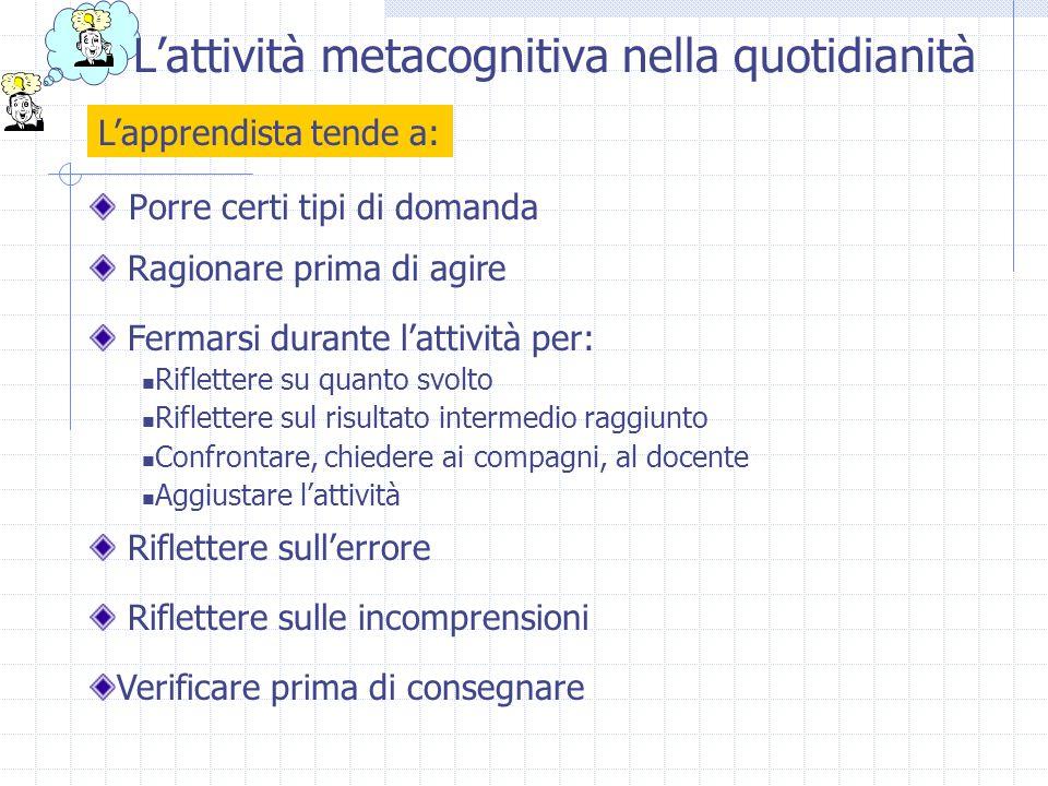L'attività metacognitiva nella quotidianità Porre certi tipi di domanda Fermarsi durante l'attività per: Riflettere su quanto svolto Riflettere sul ri
