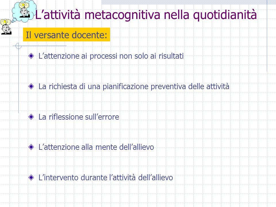 L'attenzione ai processi non solo ai risultati La richiesta di una pianificazione preventiva delle attività La riflessione sull'errore L'attenzione al