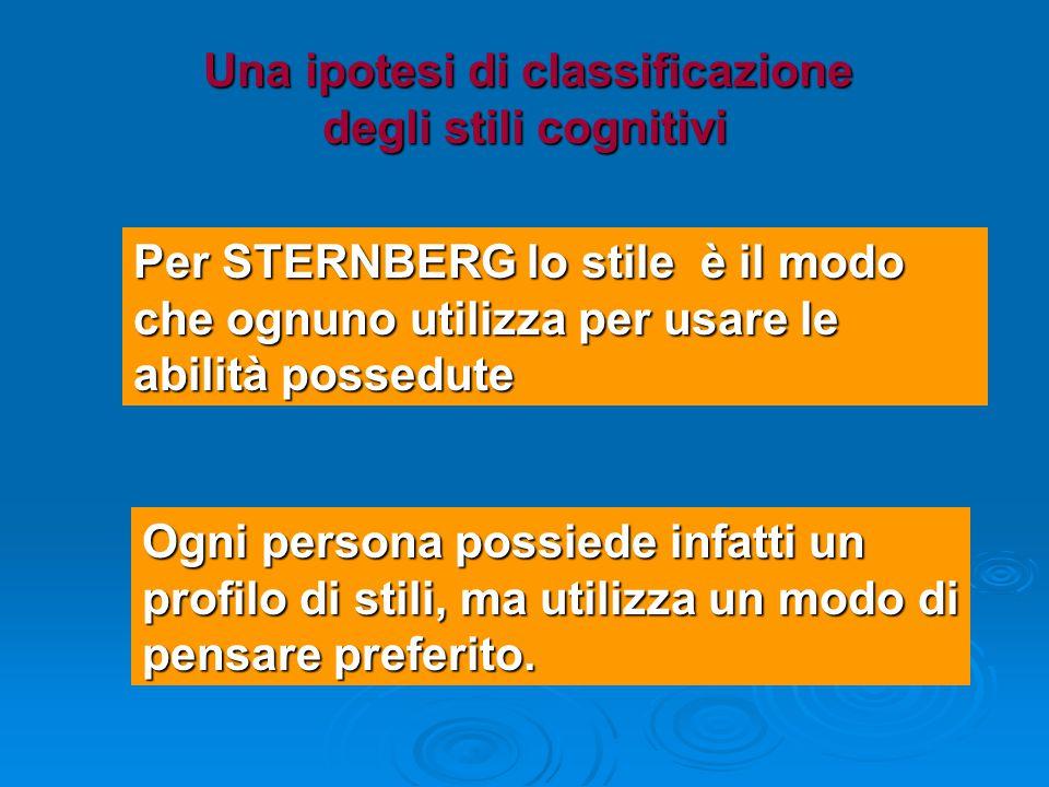 Una ipotesi di classificazione degli stili cognitivi Una ipotesi di classificazione degli stili cognitivi Per STERNBERG lo stile è il modo che ognuno