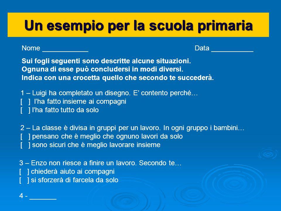 Un esempio per la scuola primaria Nome ____________ Data ___________ Sui fogli seguenti sono descritte alcune situazioni. Ognuna di esse può concluder