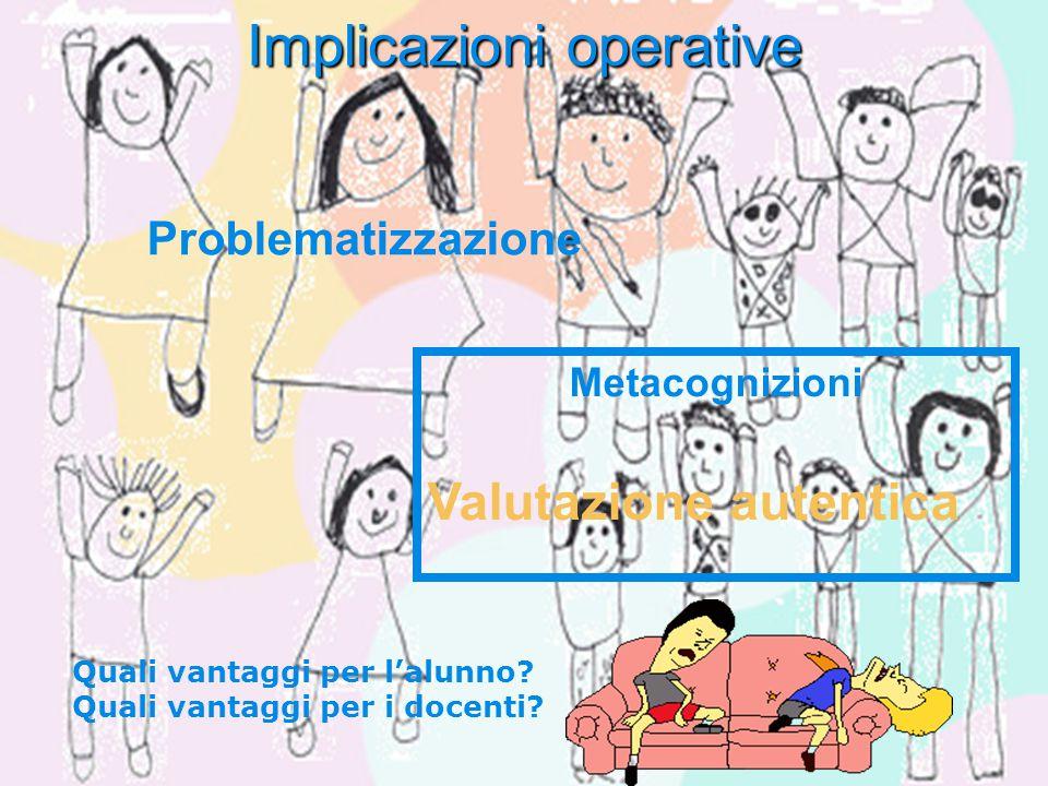 Implicazioni operative Metacognizioni Valutazione autentica Problematizzazione Quali vantaggi per l'alunno? Quali vantaggi per i docenti?