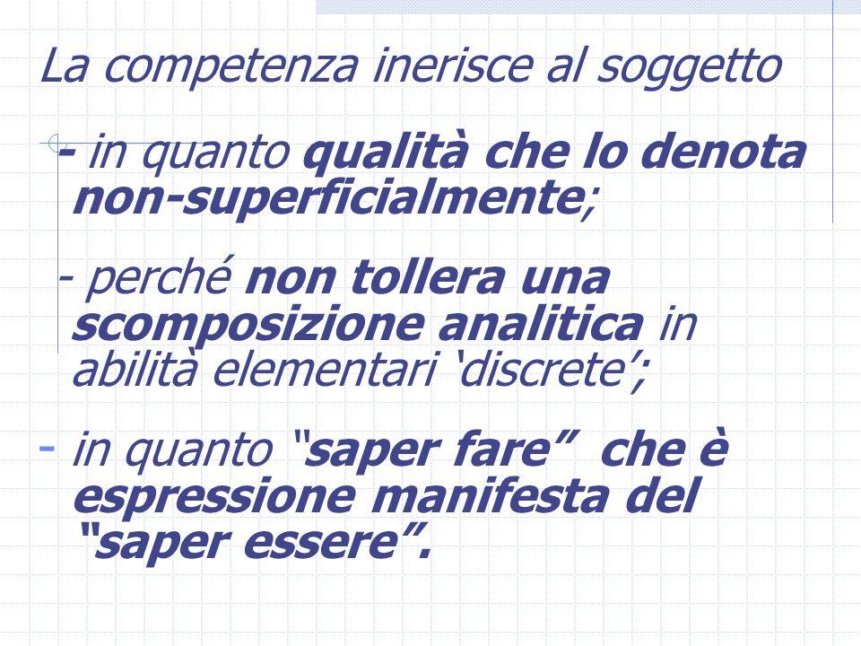 La competenza inerisce al soggetto - in quanto qualità che lo denota non-superficialmente; - perché non tollera una scomposizione analitica in abilità