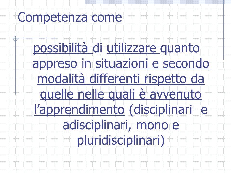 Competenza come possibilità di utilizzare quanto appreso in situazioni e secondo modalità differenti rispetto da quelle nelle quali è avvenuto l'appre