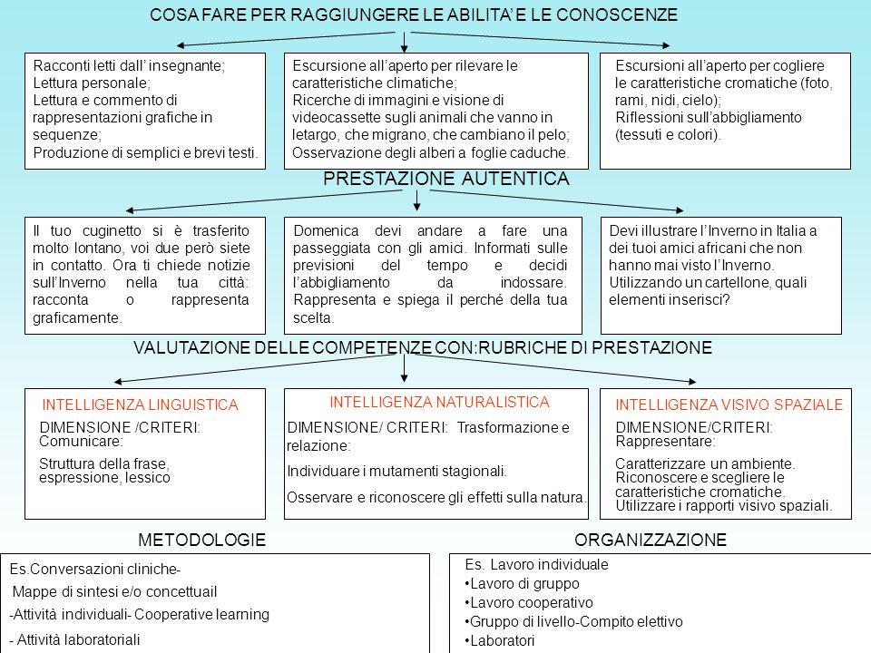 PRESTAZIONE AUTENTICA INTELLIGENZA LINGUISTICA DIMENSIONE /CRITERI: Comunicare: Struttura della frase, espressione, lessico INTELLIGENZA VISIVO SPAZIA