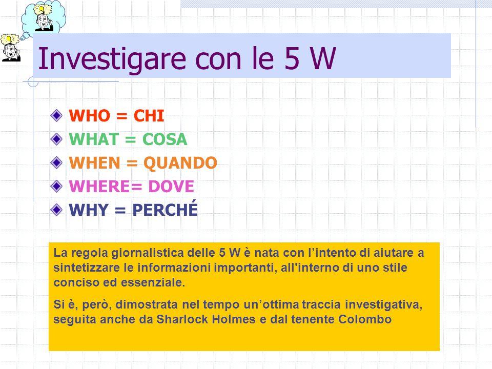 Investigare con le 5 W WHO = CHI WHAT = COSA WHEN = QUANDO WHERE= DOVE WHY = PERCHÉ La regola giornalistica delle 5 W è nata con l'intento di aiutare