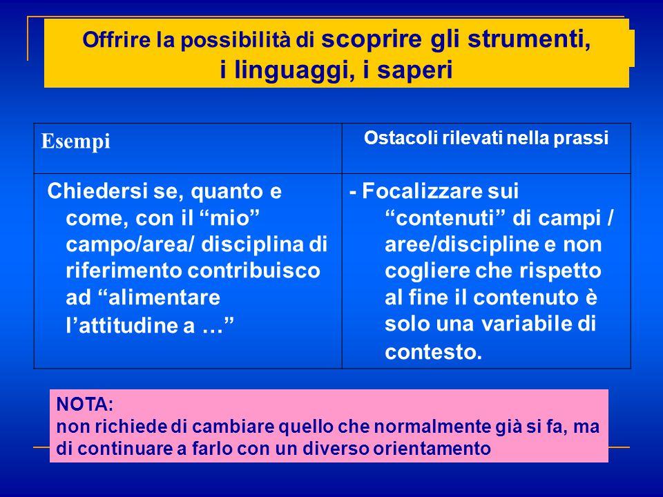 """Esempi Ostacoli rilevati nella prassi Chiedersi se, quanto e come, con il """"mio"""" campo/area/ disciplina di riferimento contribuisco ad """"alimentare l'at"""
