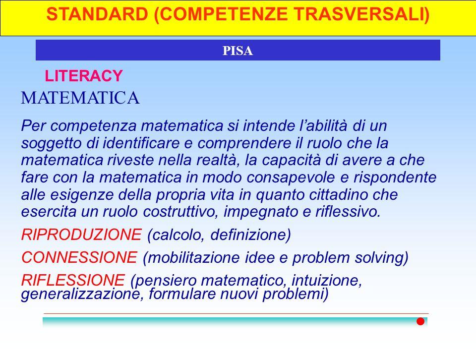 STANDARD (COMPETENZE TRASVERSALI)3 LITERACY PISA MATEMATICA Per competenza matematica si intende l'abilità di un soggetto di identificare e comprender