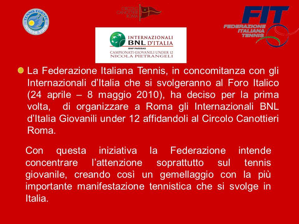 La Federazione Italiana Tennis, in concomitanza con gli Internazionali d'Italia che si svolgeranno al Foro Italico (24 aprile – 8 maggio 2010), ha deciso per la prima volta, di organizzare a Roma gli Internazionali BNL d'Italia Giovanili under 12 affidandoli al Circolo Canottieri Roma.