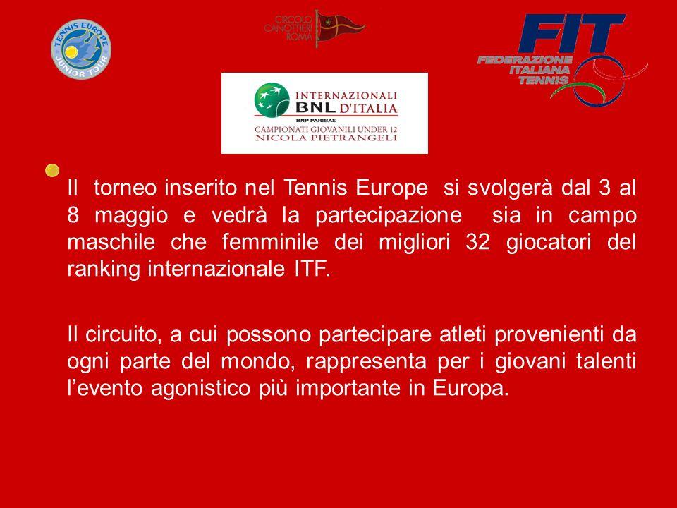 Il torneo inserito nel Tennis Europe si svolgerà dal 3 al 8 maggio e vedrà la partecipazione sia in campo maschile che femminile dei migliori 32 giocatori del ranking internazionale ITF.