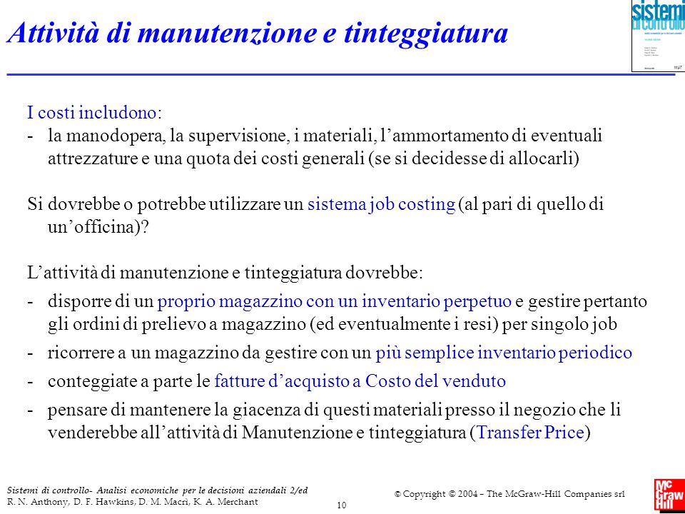 10 Sistemi di controllo- Analisi economiche per le decisioni aziendali 2/ed R. N. Anthony, D. F. Hawkins, D. M. Macrì, K. A. Merchant © Copyright © 20