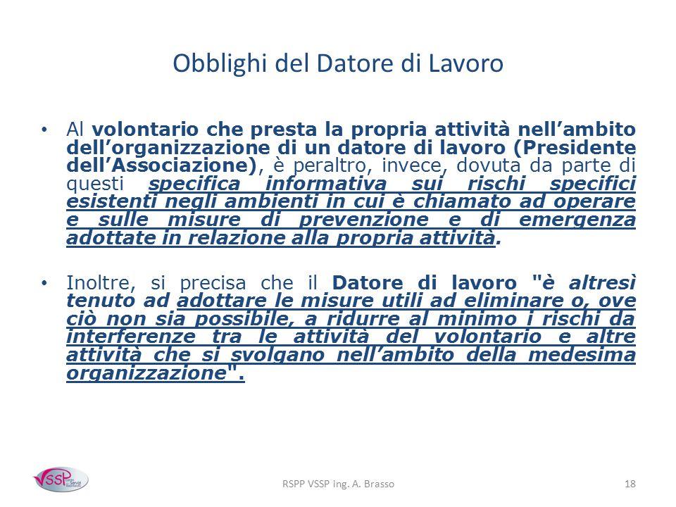 Obblighi del Datore di Lavoro Al volontario che presta la propria attività nell'ambito dell'organizzazione di un datore di lavoro (Presidente dell'Ass