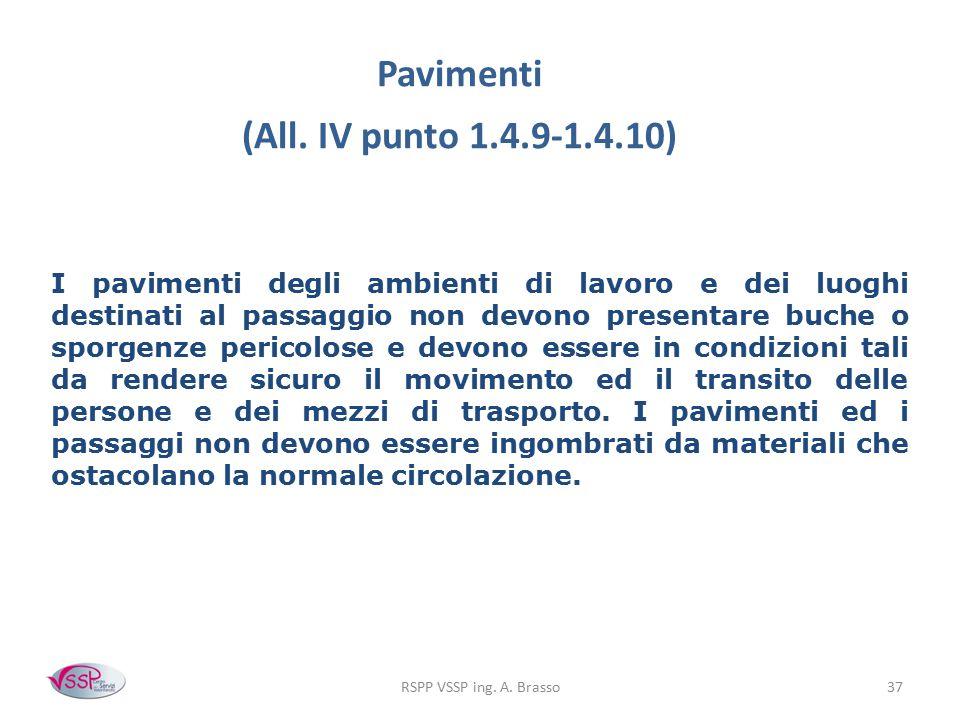 RSPP VSSP ing. A. Brasso37 Pavimenti (All. IV punto 1.4.9-1.4.10) I pavimenti degli ambienti di lavoro e dei luoghi destinati al passaggio non devono