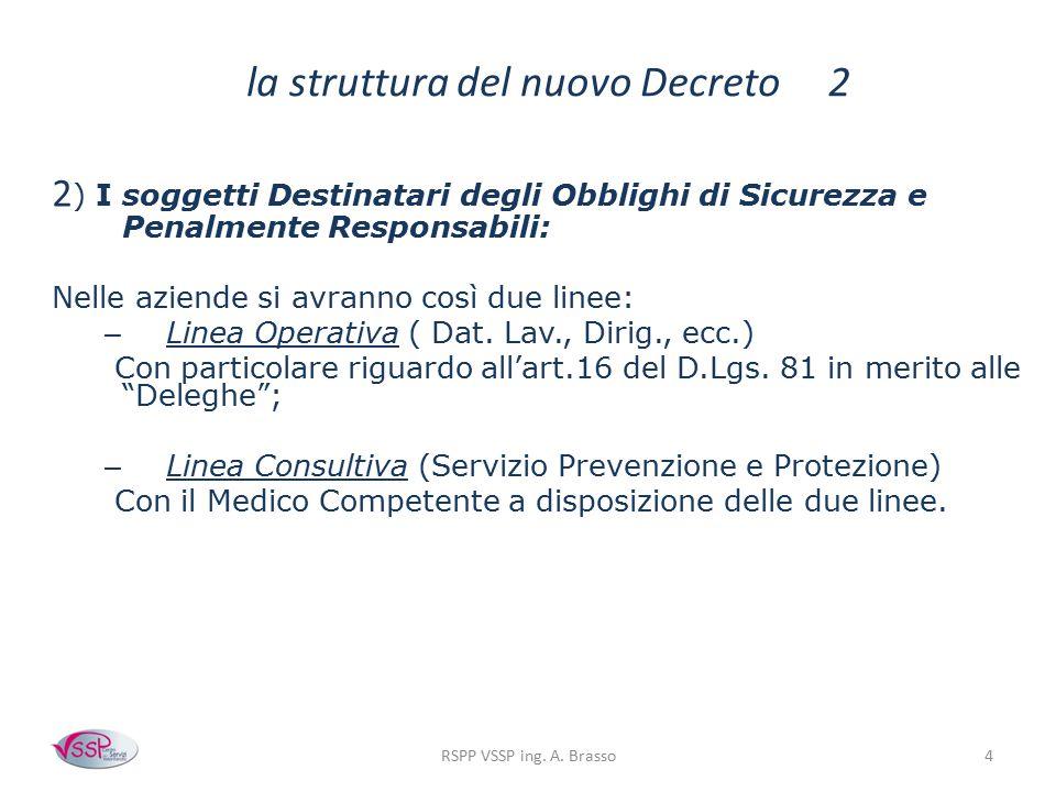 4 la struttura del nuovo Decreto 2 2 ) I soggetti Destinatari degli Obblighi di Sicurezza e Penalmente Responsabili: Nelle aziende si avranno così due