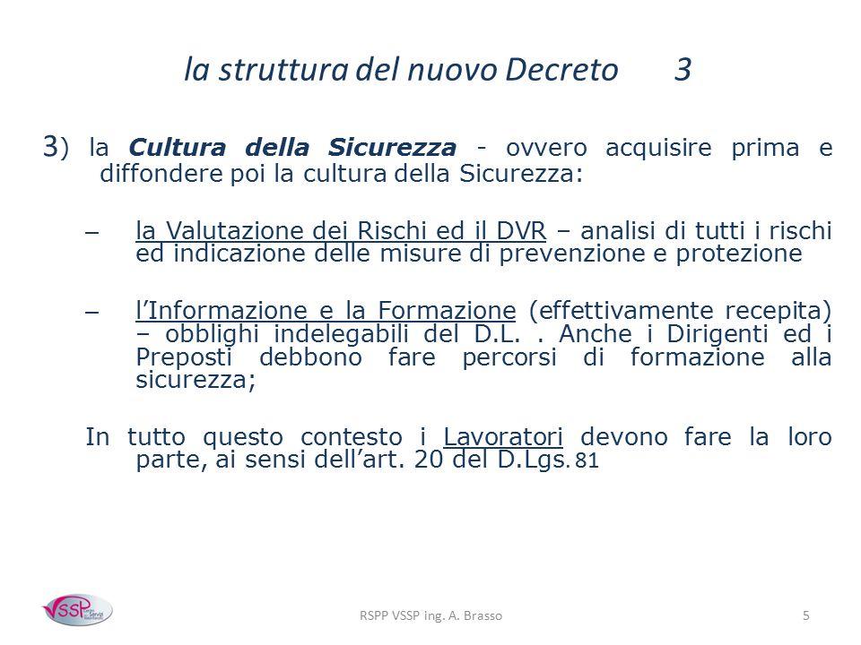 RSPP VSSP ing. A. Brasso5 la struttura del nuovo Decreto 3 3 ) la Cultura della Sicurezza - ovvero acquisire prima e diffondere poi la cultura della S