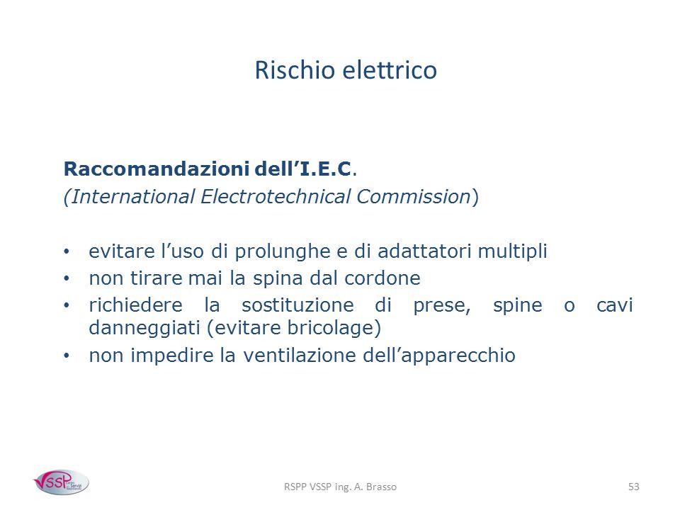 RSPP VSSP ing. A. Brasso53 Rischio elettrico Raccomandazioni dell'I.E.C. (International Electrotechnical Commission) evitare l'uso di prolunghe e di a