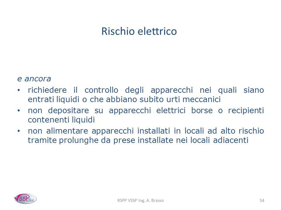 RSPP VSSP ing. A. Brasso54 Rischio elettrico e ancora richiedere il controllo degli apparecchi nei quali siano entrati liquidi o che abbiano subito ur