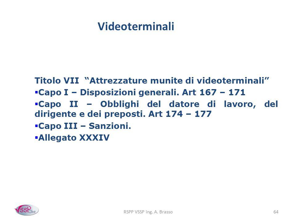 """RSPP VSSP ing. A. Brasso64 Videoterminali Titolo VII """"Attrezzature munite di videoterminali""""  Capo I – Disposizioni generali. Art 167 – 171  Capo II"""