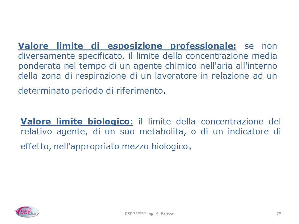RSPP VSSP ing. A. Brasso78 Valore limite di esposizione professionale: se non diversamente specificato, il limite della concentrazione media ponderata