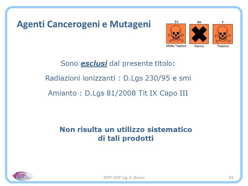 RSPP VSSP ing. A. Brasso83 Agenti Cancerogeni e Mutageni Sono esclusi dal presente titolo: Radiazioni ionizzanti : D.Lgs 230/95 e smi Amianto : D.Lgs