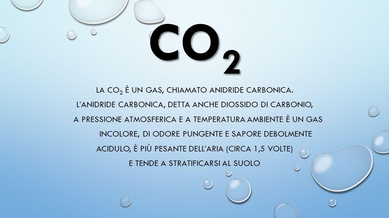 CO 2 LA CO 2 È UN GAS, CHIAMATO ANIDRIDE CARBONICA. L'ANIDRIDE CARBONICA, DETTA ANCHE DIOSSIDO DI CARBONIO, A PRESSIONE ATMOSFERICA E A TEMPERATURA AM