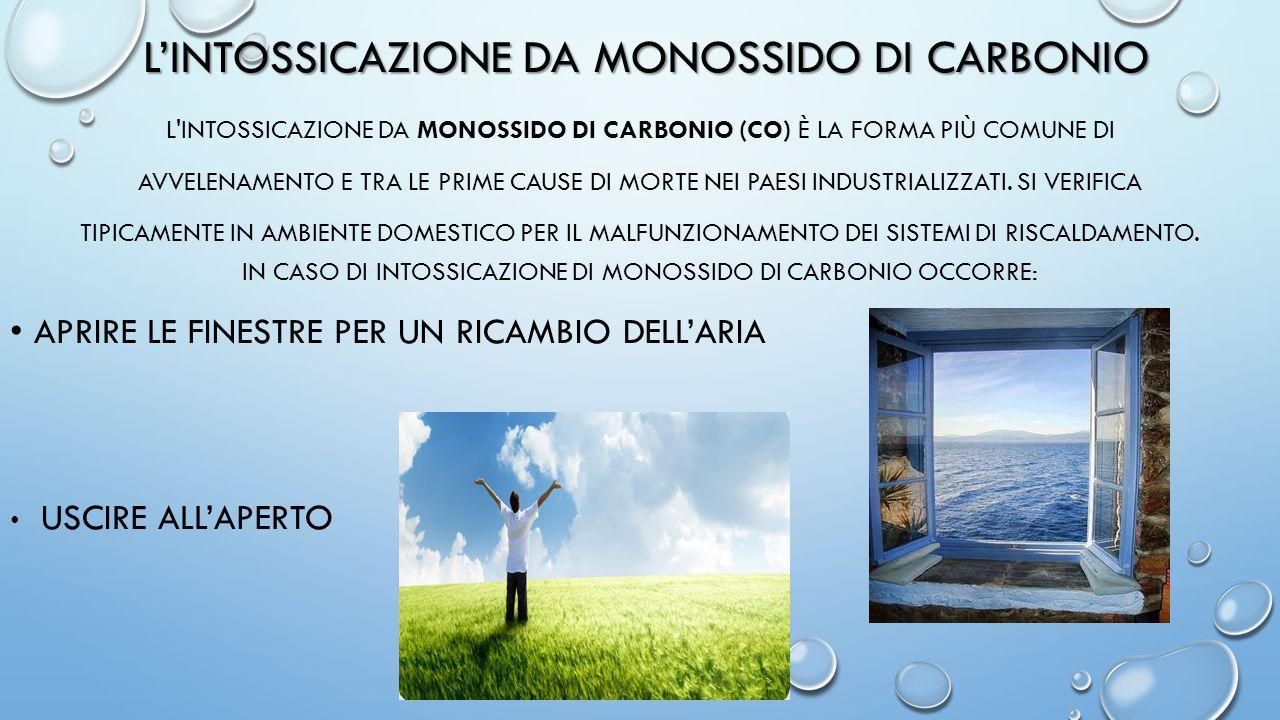 L'INTOSSICAZIONE DA MONOSSIDO DI CARBONIO L'INTOSSICAZIONE DA MONOSSIDO DI CARBONIO (CO) È LA FORMA PIÙ COMUNE DI AVVELENAMENTO E TRA LE PRIME CAUSE D