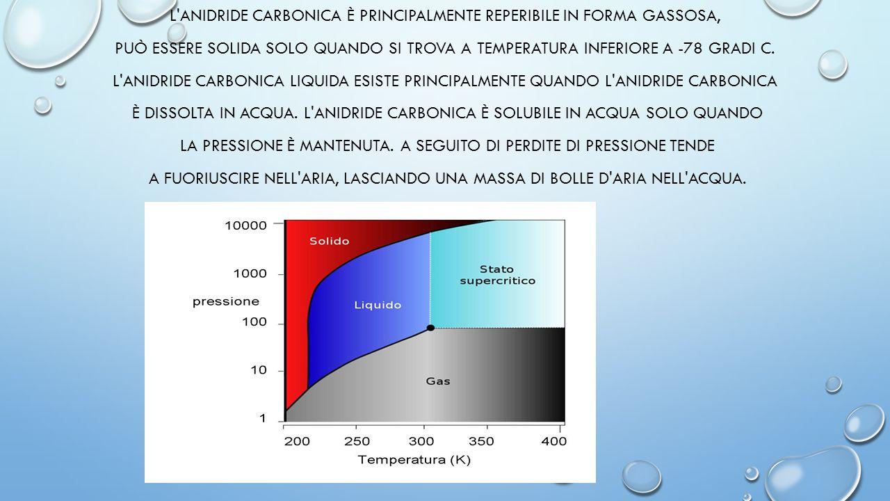L'ANIDRIDE CARBONICA È PRINCIPALMENTE REPERIBILE IN FORMA GASSOSA, PUÒ ESSERE SOLIDA SOLO QUANDO SI TROVA A TEMPERATURA INFERIORE A -78 GRADI C. L'ANI