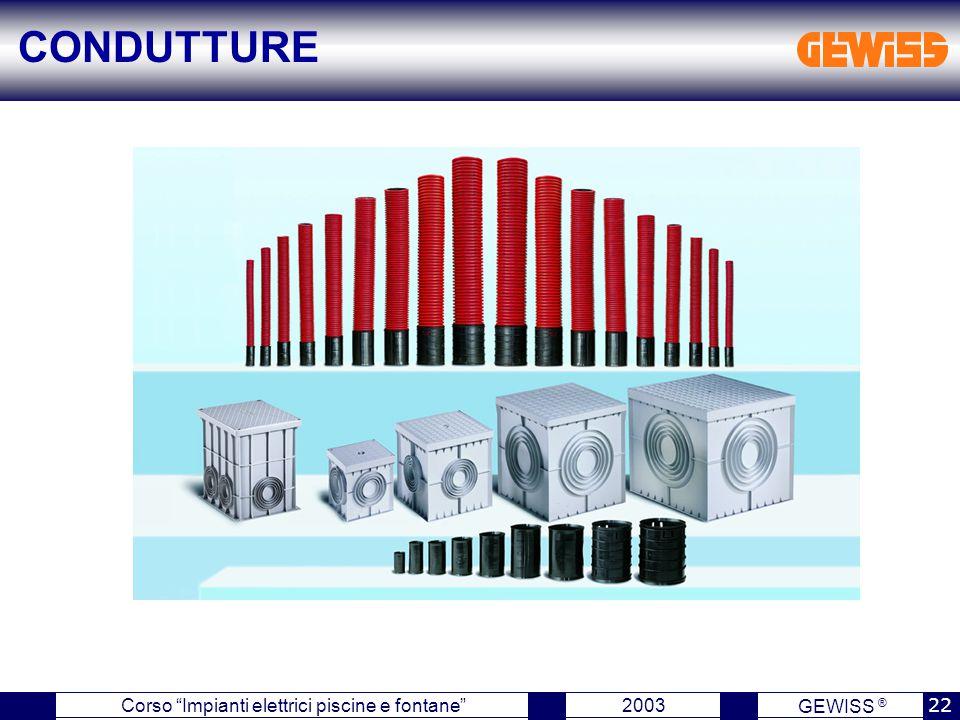 GEWISS ® 2003 22 Corso Impianti elettrici piscine e fontane CONDUTTURE