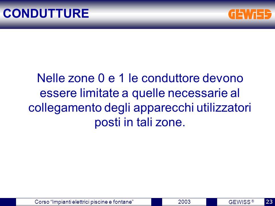 """GEWISS ® 2003 23 Corso """"Impianti elettrici piscine e fontane"""" Nelle zone 0 e 1 le conduttore devono essere limitate a quelle necessarie al collegament"""