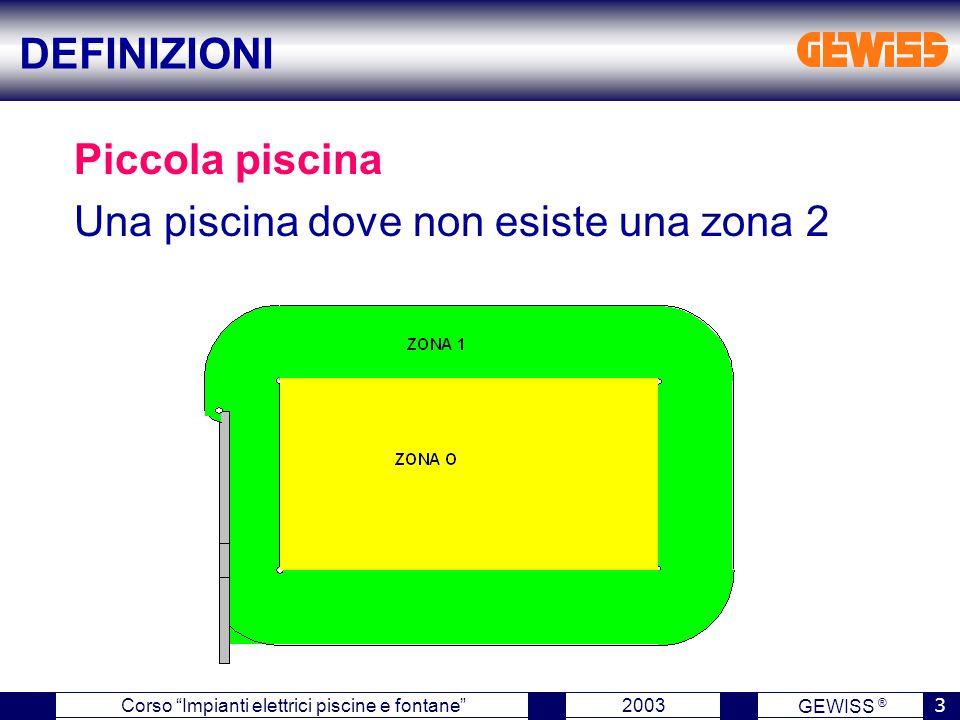 GEWISS ® 2003 3 Corso Impianti elettrici piscine e fontane Piccola piscina Una piscina dove non esiste una zona 2 DEFINIZIONI