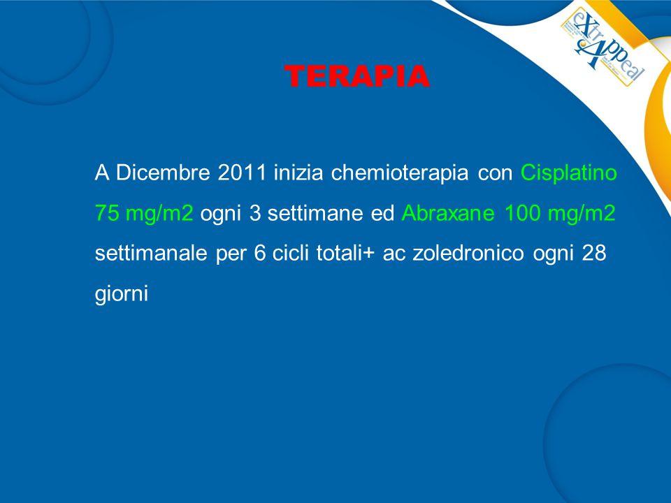 TERAPIA A Dicembre 2011 inizia chemioterapia con Cisplatino 75 mg/m2 ogni 3 settimane ed Abraxane 100 mg/m2 settimanale per 6 cicli totali+ ac zoledronico ogni 28 giorni