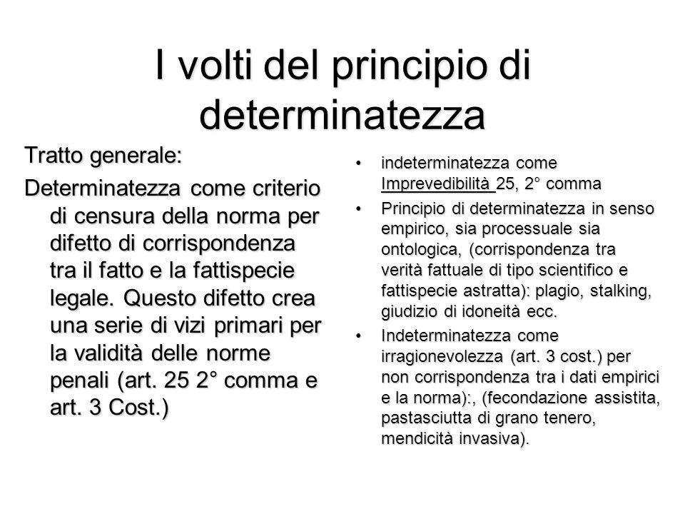 I volti del principio di determinatezza Tratto generale: Determinatezza come criterio di censura della norma per difetto di corrispondenza tra il fatt
