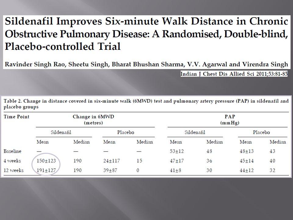 37 pazienti con BPCO di grado severo o molto severo con stima ecocardiografica di pressione arteriosa sistolica polmonare > di 40 mmHg Randomizzazione