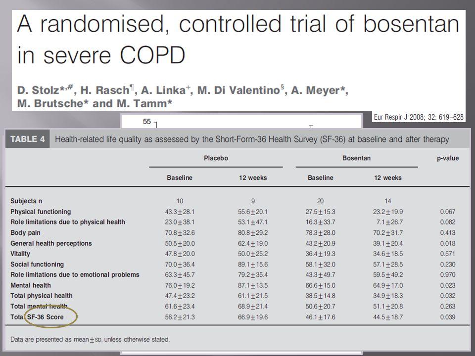 30 pazienti con BPCO di grado severo o molto severo di cui 20 pazienti con ipertensione polmonare stimata ecograficamente Randomizzazione a ricevere b