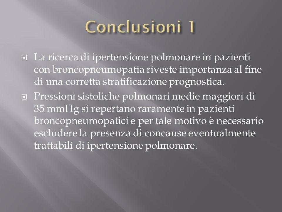  La ricerca di ipertensione polmonare in pazienti con broncopneumopatia riveste importanza al fine di una corretta stratificazione prognostica.  Pre