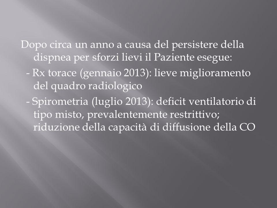 Dopo circa un anno a causa del persistere della dispnea per sforzi lievi il Paziente esegue: - Rx torace (gennaio 2013): lieve miglioramento del quadr