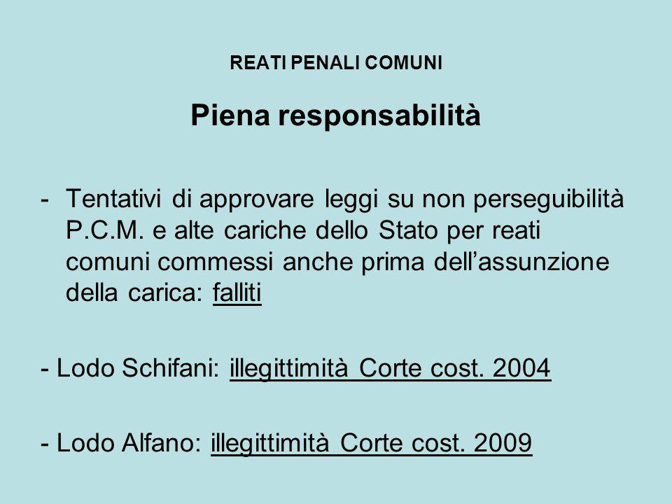 REATI PENALI COMUNI Piena responsabilità -Tentativi di approvare leggi su non perseguibilità P.C.M. e alte cariche dello Stato per reati comuni commes