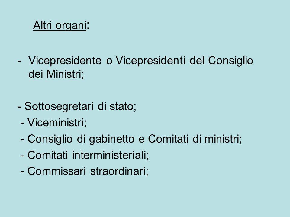Altri organi : -Vicepresidente o Vicepresidenti del Consiglio dei Ministri; - Sottosegretari di stato; - Viceministri; - Consiglio di gabinetto e Comi