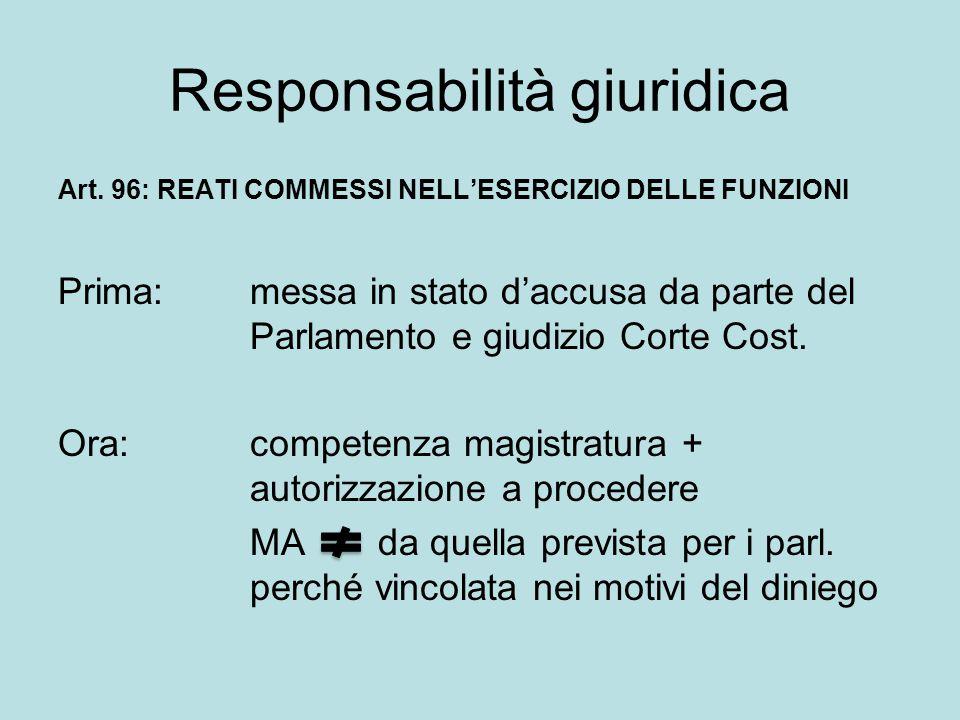 Responsabilità giuridica Art. 96: REATI COMMESSI NELL'ESERCIZIO DELLE FUNZIONI Prima: messa in stato d'accusa da parte del Parlamento e giudizio Corte